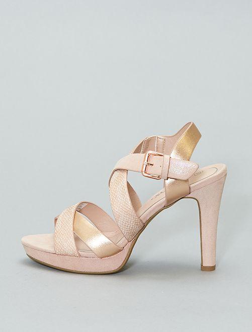 Sandali iridescenti con tacco                             BEIGE Scarpe