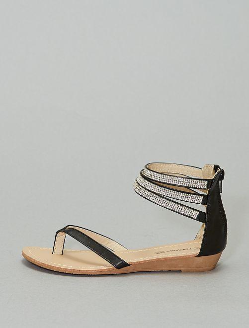 Sandali lacci con strass                             nero