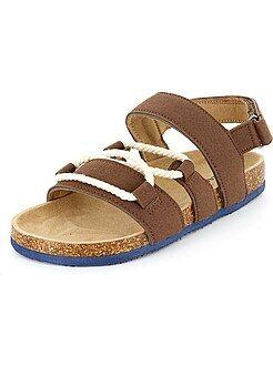 Sandali pelle scamosciata con corda - Kiabi