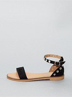 Sandali piatti alti pelle scamosciata - Kiabi