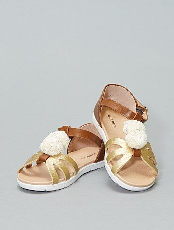 Sandali piatti dorati con pompon - Kiabi 9800e859695
