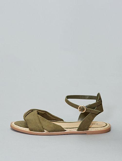 Sandali piatti                             kaki Donna