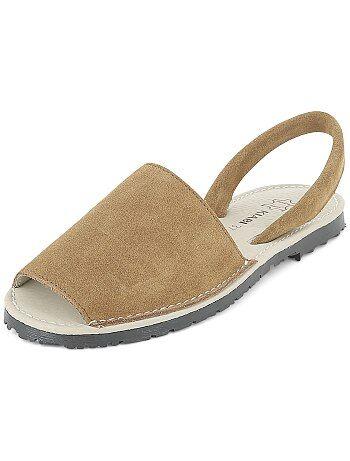 Sandali piatti pelle - Kiabi