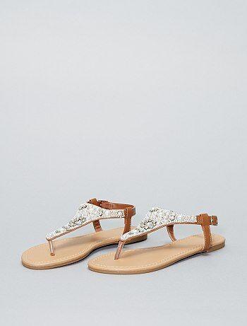 Sandali piatti perle - Kiabi