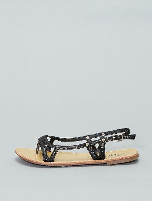 Sandali piatti vernice                             nero Scarpe