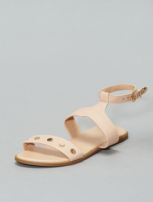 Sandali similpelle dettaglio dorato                             rosa Scarpe