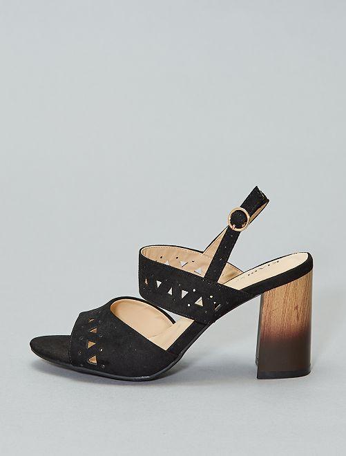 Sandali tacco effetto scamosciato                             nero