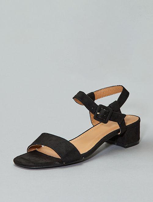 Sandali tacco effetto scamosciato                     nero Donna