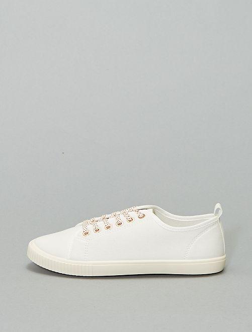 Scarpe da ginnastica di tela con lacci                                                     bianco