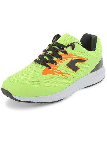 Scarpe da ginnastica running mesh fluorescente - Kiabi