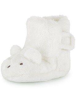 Scarpette foderate di pelliccia coniglio 3D - Kiabi