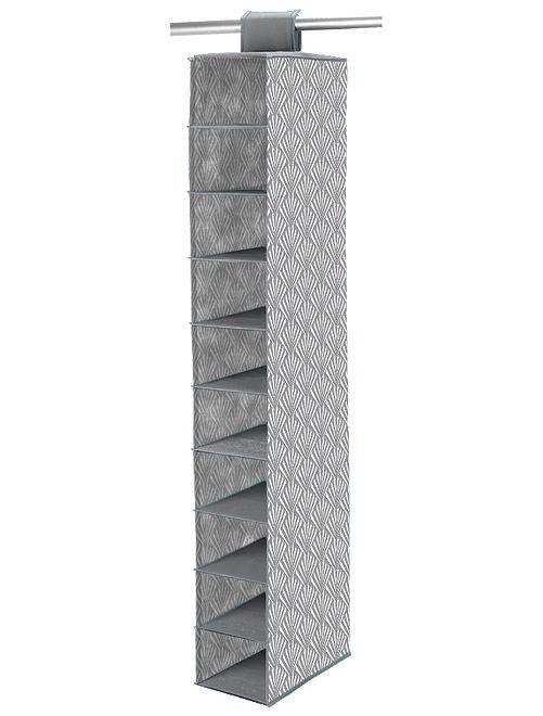 Scarpiera tessuto 10 scomparti                                                     grigio/bianco