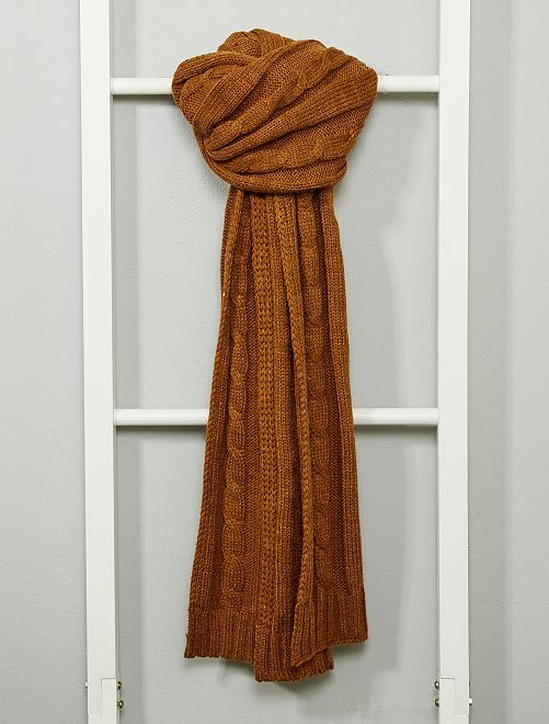 Sciarpa maglia a trecce                                         cammello