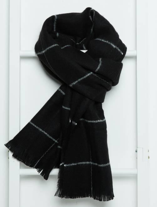 Sciarpa maglia morbida a righe nero Donna