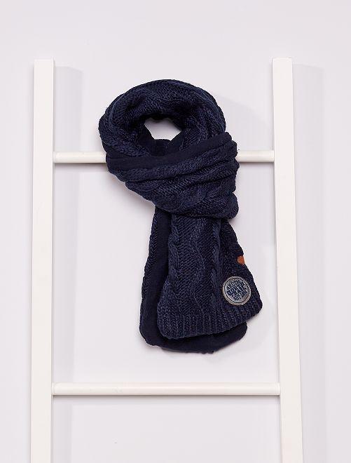 Sciarpa tricot foderata in pile                                         BLU