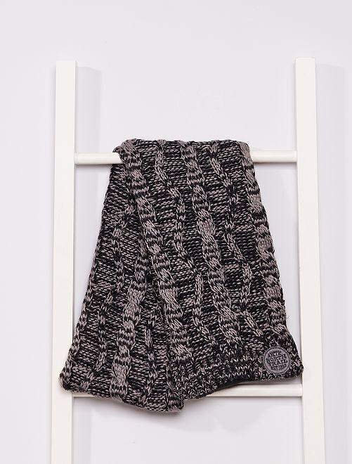 Sciarpa tricot foderata in pile                                         grigio/nero