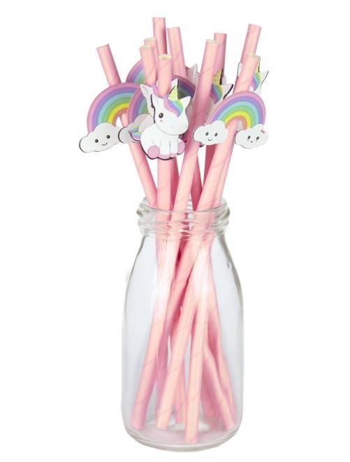 Set 10 cannucce unicorni                             rosa