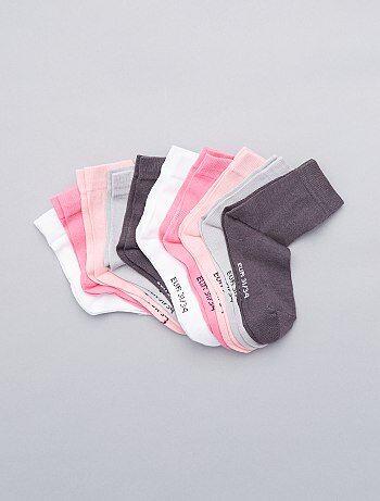 Bambina 3-12 anni - Set 10 paia calzini tinta unita - Kiabi