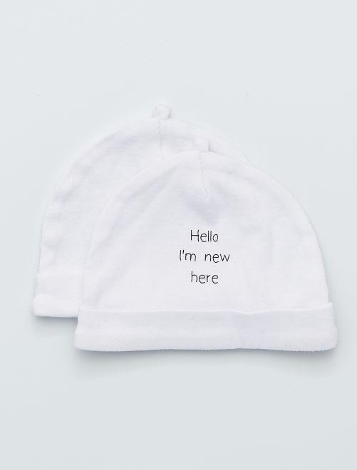 Set 2 berretti cotone bio                                                                 bianco Neonata