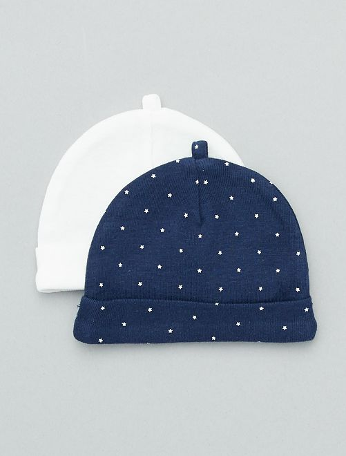 Set 2 berretti cotone bio                                                                 blu marine