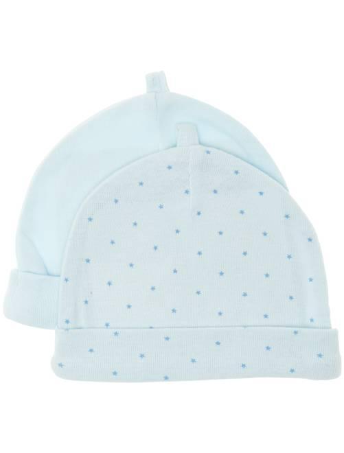 Set 2 berretti cotone bio                                                                 blu Neonato