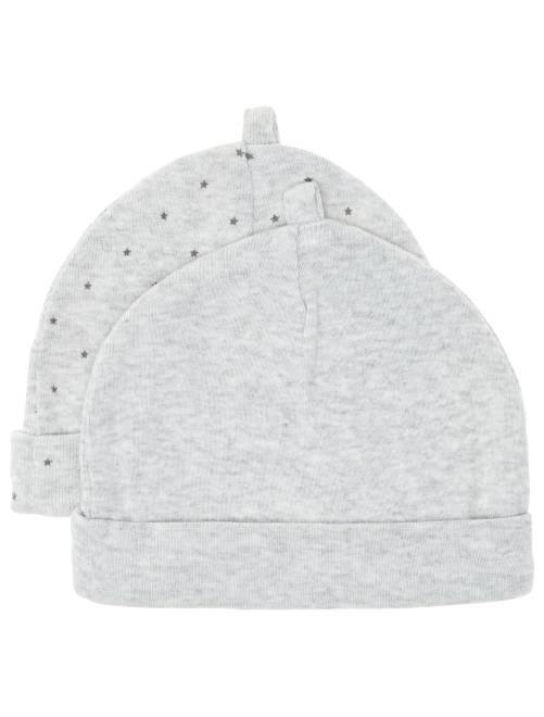 Set 2 berretti cotone bio                                                                 grigio Neonato