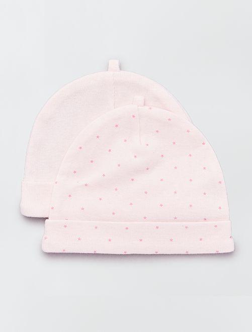 Set 2 berretti cotone bio                                                                             rosa Neonata