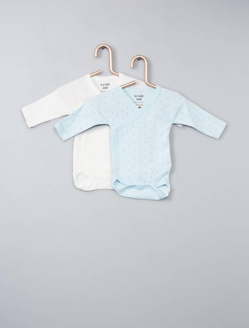 Set 2 body cotone bio                                                                 blu Neonato