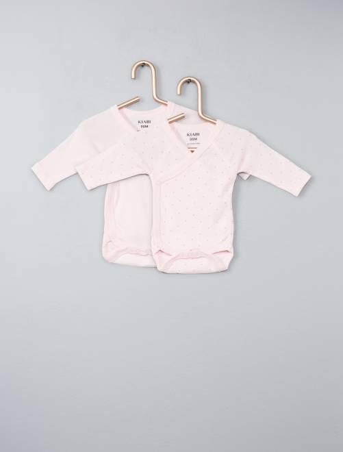 Set 2 body cotone bio                                                                 rosa Neonata