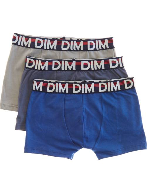Set 2 boxer + 1 gratuito tinta unita 'Dim'                             BLU Infanzia bambino