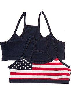 Bambina 10-18 anni Set 2 brassiere stampa bandiera USA