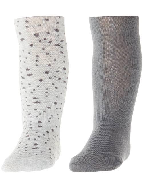 Set 2 calzamaglie tinta unita e stampate                                         GRIGIO Neonata