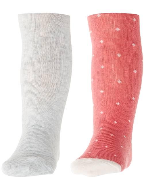 Set 2 calzamaglie tinta unita e stampate                             ROSA Neonata