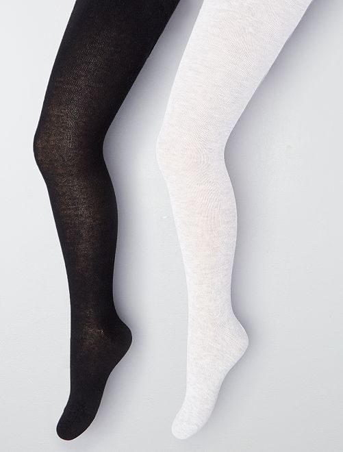 Set 2 calzamaglie tinta unita                                         grigio/nero Infanzia bambina