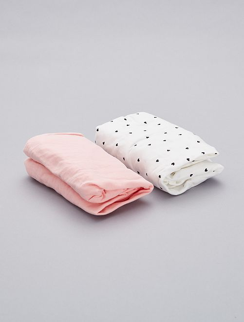 Set 2 lenzuoli con angolo cotone bio                                         BIANCO Neonata
