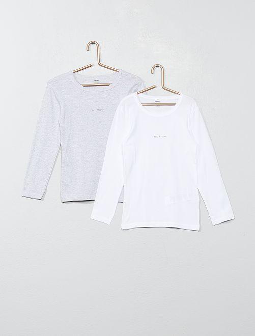 Set 2 maglie intime cotone bio                                         GRIGIO/bianco