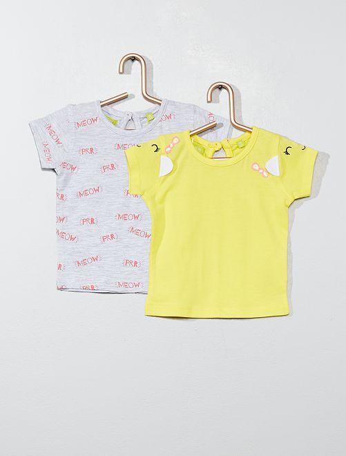 Set 2 magliette 'gatto'                                         giallo Neonata