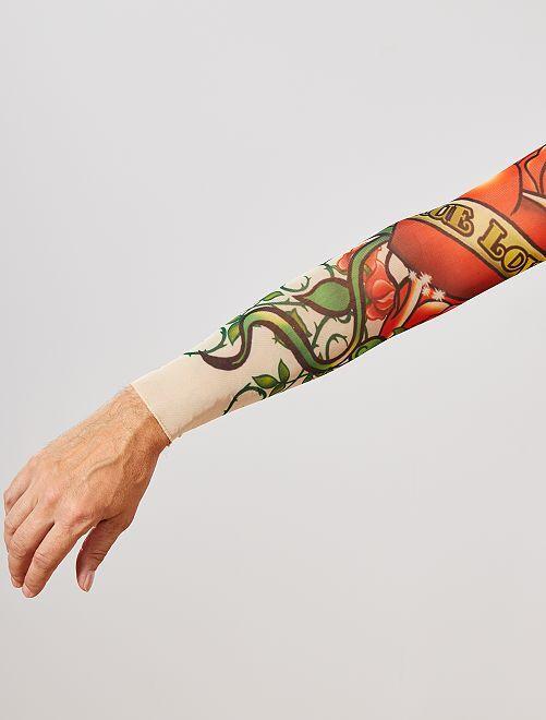 Set 2 maniche tatuate                             rosso