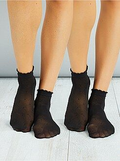 Intimo dalla S alla XXL - Set 2 paia calzini alla caviglia plumetis - Kiabi