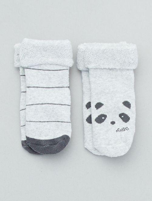 Set 2 paia calzini antiscivolo                                                                 grigio Neonata