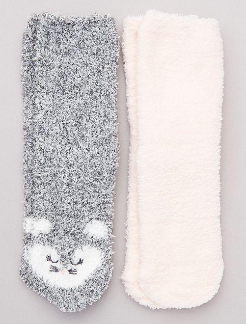 Set 2 paia calzini antiscivolo                     ROSA