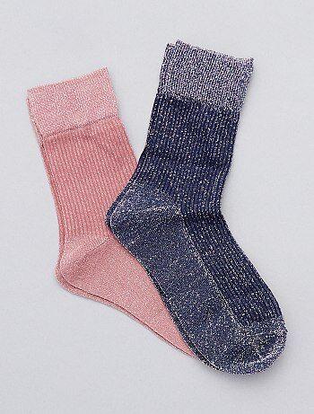 Intimo dalla S alla XXL - Set 2 paia calzini brillanti - Kiabi