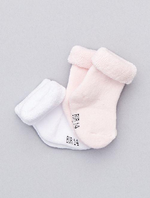 Set 2 paia calzini cotone bio                                                                 bianco/rosa