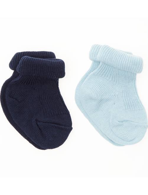 Set 2 paia calzini cotone bio                             blu Neonata