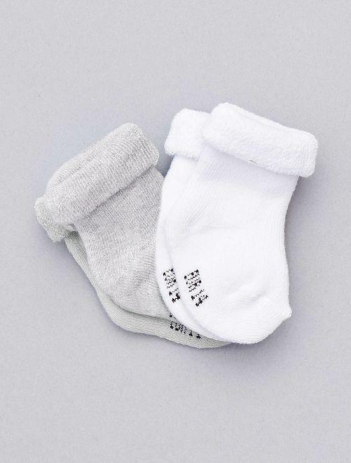 Set 2 paia calzini cotone bio                                                                             grigio Neonato