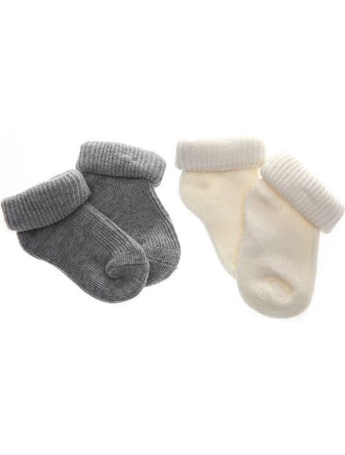 Set 2 paia calzini cotone bio                                                     grigio/greggio Neonato