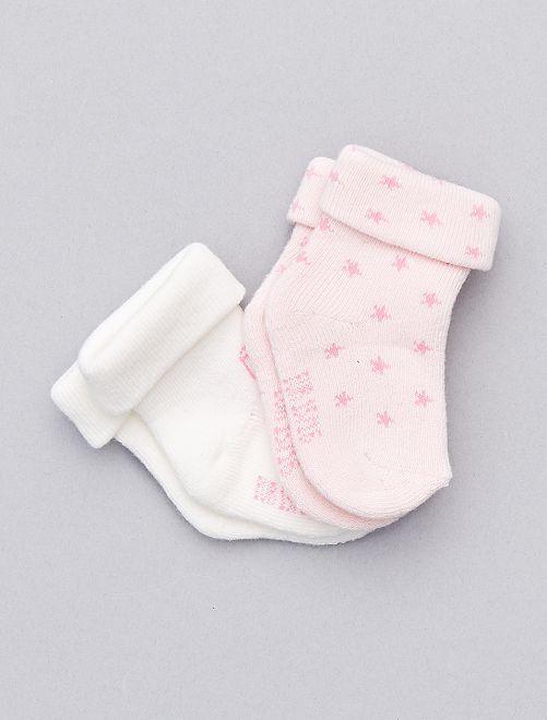 Set 2 paia calzini in maglia cotone biologico                                                                 rosa pallido Neonata