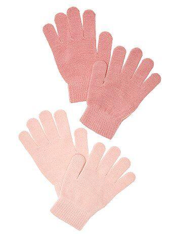 Bambina 3-12 anni - Set 2 paia guanti tinta unita - Kiabi 0fb593fb072e