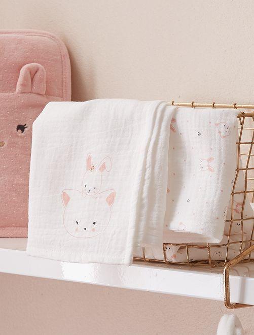 Set 2 quadrati neonato 'gatto'                             ROSA