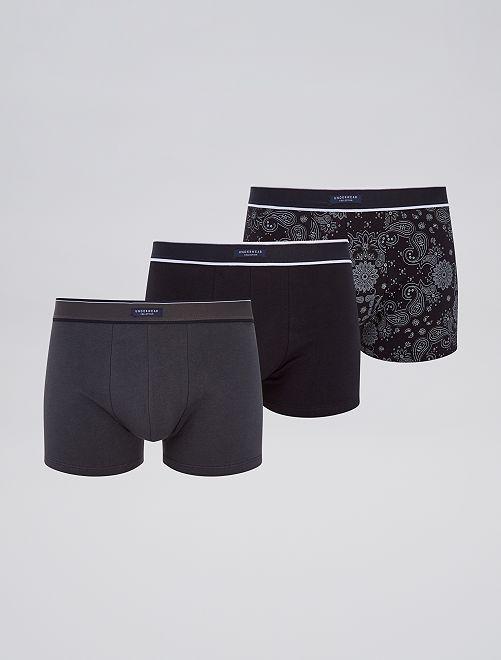 Set 3 boxer stretch                                                                                                     stampato nero
